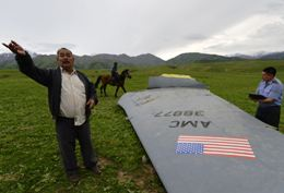 The debris of the crashed KC-135 plane in Kyrgyzstan