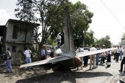 Задната част на самолета след катастрофата