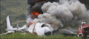 The cargo plane was completely destroyed.