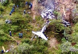 The wreckage of the crashed Beech-200 plane in Peru.