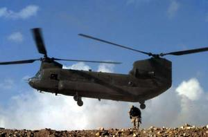 It is the second Chinook, which performed the mission too and succeeded to land safely through the sand storm.