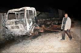 Камионът се запалил и напълно изгорял