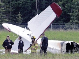 The wreckage of the crashed DHC-3T plane in Soldotna Airport.
