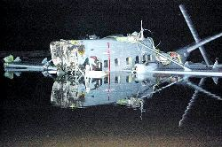 The wreckage of the Nomad N.24 with registraion number P-837