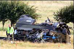 The wreckage of the crashed Puma copter