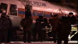 Вертолет на МЧС пристига на летището в Барнаул с ранените от катастрофата