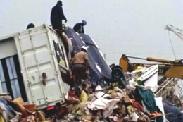 The debris of the crashed Learjet 35A