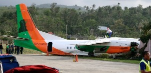 The crashed Xian MA60 plane (reg. RP-C8893)