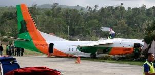 The crashed Xian MA60 plane (reg. RP-C8893)