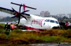 The ATR-72 aircraft went approximately 150 metres off the runway after landing.