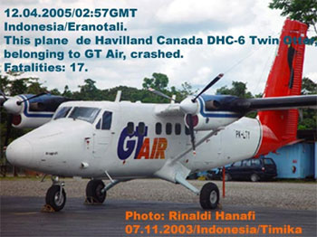 This plane de Havilland Canada DHC-6 Twin otter, belonging to GT Air, crashed in foggy weather.