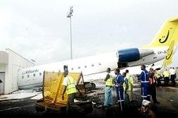 The Rwandair aircraft that crash landed into the Kigali International Airport's VIP lounge yesterday. (Photo/ J.Mbanda)