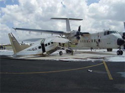 Six people were injured in a plane accident