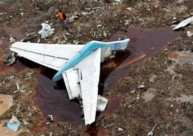 The tail of the crashed MD-82.