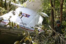 The wreckage of the crashed An-74 plane in Laos
