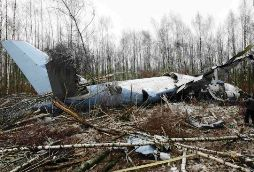 A Tu-204 lying in a forest near Moscow's Domodedovo Airport after crashing at 2:35 a.m. in heavy fog Monday. Photo: Vladimir Davydov / Reuters