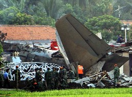 The wreckage of the crashed F-27