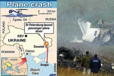Russian airliner Tu-154 crashed.