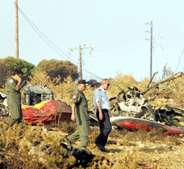 The wreckage of the crashed Canadair CL 415 plane