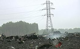 Power lines and the wreckage of the plane. Photo: Rian.Ru