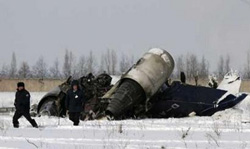 A small German-owned private jet crashed during take-off from Almaty airport on Wednesday, killing its only passenger.