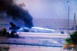 The Lufthansa cargo plane after it crashed at the airport in Riyadh