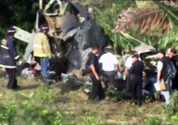The wreckage of the crashed UH-1H military helicopter in Guatemala.