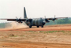 A modified Hercules C-130K transport plane which was being used to transport SAS units was blown up in the Afghan desert.