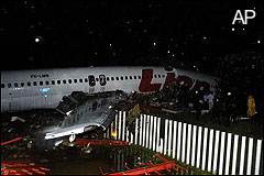 A passenger plane crashed on landing in Indonesia.