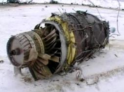The wreckage of the crashed IL-76.