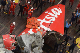 The tail of the crashed Indonesia Air Asia plane.
