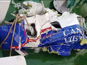 The debris of the crashed rescue aircraft CASA C-212 Aviocar 400MPA