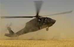 UH-60 Blackhawk helicopter lands.