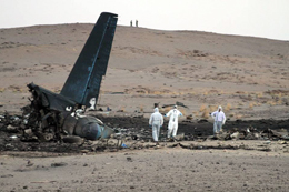 The wreckage of the crashed Antonov 12BK in Algeria
