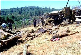 According to some websites this picture shows the helicopter's wreckage.